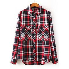 5f3b22db Preppy Style Polo Collar Plaid Asymmetrical Hem Long Sleeve Blouse For Women,  AS THE PICTURE
