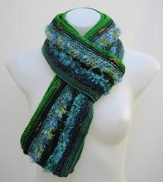 Upcycled green blue scarf, reclaimed knitted scarf, upcycled striped scarf, repurposed yarn scarf, refashioned scarf, recycled yarn scarf by Rethreading on Etsy