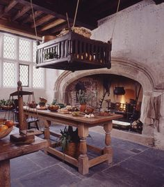Plas Mawr, Conwy, late century townhouse, the kitchen Mansion Kitchen, Tudor Kitchen, Stone Kitchen, French Kitchen, Old World Kitchens, Old Mansions, Witch House, Kitchen Flooring, 16th Century