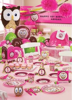 Avery's first birthday - owls