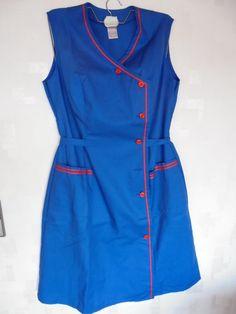 Damen Kleid Kleiderschürze Arbeitsmantel 70er Jahre Gr. 46 Miloty | eBay