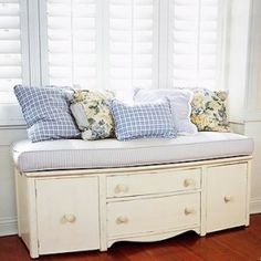 Repurpose a small dresser into a cute padded bench with storage. What a great idea for a guest room and a good way to refurbish a thrifted or roadside find. Toy room seat for parents to watch their chilred and store the toys! @Connie Hamon Rose