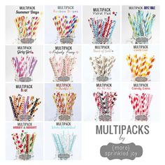 Cute Straw Multipacks for Vintage Paper Straws!!!