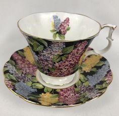 Royal Albert Cynthia Teacup And Saucer Black Floral Chintz Lilacs Gainsborough   eBay
