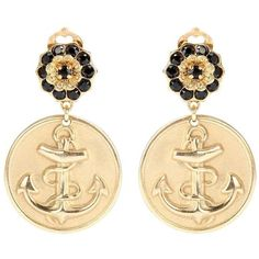 Dolce & Gabbana Anchor Clip-on Earrings (575 AUD) ❤ liked on Polyvore featuring jewelry, earrings, gold, earring jewelry, gold clip earrings, clip on earrings, anchor jewelry and clip earrings