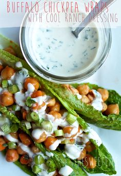 Buffalo Chickpea Lettuce Wraps with Cool Ranch Dressing
