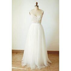 Vestido+de+Boda+-+Marfil+Corte+en+A+Hasta+el+Suelo+-+Escote+en+V+Tul+–+AUD+$+157.29