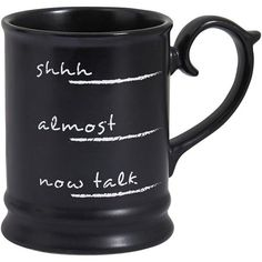 Pier 1 Imports Black Coffee Talk Mug ($8.95) ❤ liked on Polyvore featuring home, kitchen & dining, drinkware, fillers, food, items, black, phrase, quotes and saying