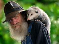 """Barney Barnwell with his opossum """"George"""". Barney is quite a character: Here he shares """"How to make Moonshine"""" and here is the site of his bluegrass """"The Plum Hollow Band"""". Hamsters, Strange Cars, Opossum, John Lennon, Pop Culture, Cute Animals, Baby Animals, Funny Animals, Wildlife"""
