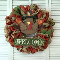 Welcome to Fall Wreath, Autumn Wreath, Turkey Wreath, Thanksgiving Wreath, Burlap Wreath, Fall Burlap Wreath