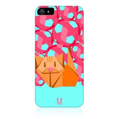 e_cell - Head Case Pussy Cat Origami Design Protective Back Case Cover for Apple iPhone 5