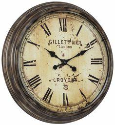 Frye Clock Aged Bronze Finish; Under Glass