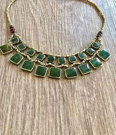 Jade Statement necklaceolive green jadevintage jade boho