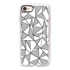 Abstraction Lines Black on White - iPhone 7 Case, iPhone 7 Plus Case,... (46 CAD) ❤ liked on Polyvore featuring accessories, tech accessories, iphone case, iphone cover case, white iphone case, iphone cases, apple iphone cases and slim iphone case