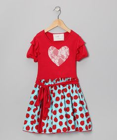 Take a look at this Red Ladybug Heart Dress - Toddler & Girls by Wonder Me on #zulily today!