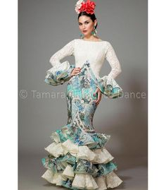 woman flamenco dresses 2016 - Aires de Feria - Veronica white and printed sea green Spanish Fashion, Trumpet Skirt, Blue And White Dress, Indian Bridal, African Fashion, Womens Fashion, Flamenco Dresses, Outfits, Clothes