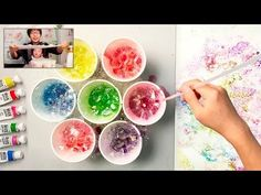 Bubble painting technique basic easy fun art for kids - yout Dandelion Painting, Bubble Painting, Painting For Kids, Art For Kids, Crafts For Kids, Kids Diy, Painting Hacks, Bubble Art, Acrylic Painting Techniques