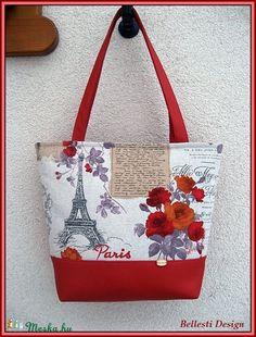 Párizs mintás nagy pakolós táska - piros (BellestiDesign) - Meska.hu   handmade 1481f4abae