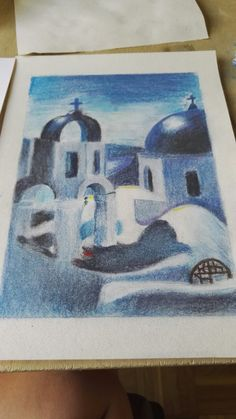 Greek village - pastel drawing