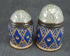 ceramic salt and pepper shakers, sgraffito pottery, stoneware shakers, ceramic tableware
