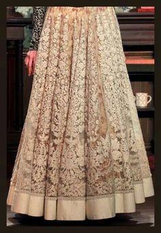 Embroideried net lengha