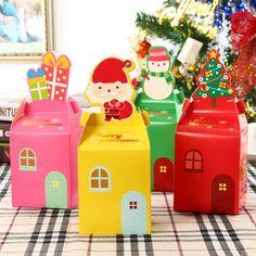 6PCS Xmas Christmas Gift Boxes Christmas Eve Apple Box Santa Snowman Party Box #Unbranded #Christmas