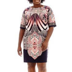 Sandra Darren Elbow-Sleeve Paisley Print Sheath Dress - Plus  found at @JCPenney