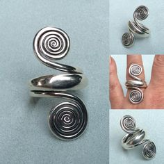 """9 Likes, 1 Comments - Christina Rose (@christinarosejewellery) on Instagram: """"Hand forged double spiral wrap round ring. Listed in my Etsy shop....link in bio. #doublespiralring…"""""""