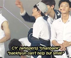 Daaaawww! When seeing the ChanBaek sign (gif) Xiumin overhears Chanyeol and looks to see the sign