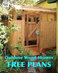 Free Plans For An Outdoor Wood Shower...http://homestead-and-survival.com/free-plans-for-an-outdoor-wood-shower/