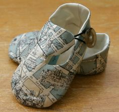 Baby Boy Shoes Sage Green Map Print Loafers by TillyWhistle, $22.00