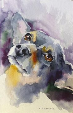Daily Paintworks - - Original Fine Art for Sale - © Katya Minkina Art Watercolor, Watercolor Animals, Contemporary Abstract Art, Dog Portraits, Portrait Images, Fine Art, Animal Paintings, Dog Art, Figurative Art