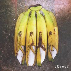 Un artista holandés transforma plátanos en obras de arte !!! Algo efímero :-) | Los Beatles