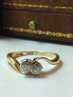 toi et moi diamond ring platinum engagement ring art deco diamond ring