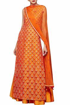 Orange silk suit with sharara by Anita Dongre Anarkali, Lehenga, Sharara, Salwar Kameez, Patiala, Salwar Suits, Indian Attire, Indian Ethnic Wear, Pakistani Outfits