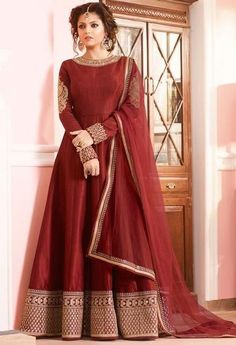Buy latest Anarkali Dress from our different range of salwar suits online. ltfab offers best discounts and deals on shopping for indian anarkali dress. Indian Gowns, Indian Attire, Pakistani Dresses, Indian Outfits, Indian Clothes, Silk Anarkali Suits, Anarkali Dress, Long Anarkali, Lehenga Choli