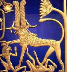 A New Kingdom griffin trampling the enemies of Egypt. Griffins usually have stout feline bodies with the head of a falcon on a short neck.