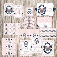 Sweet and Elegant Minnie with Pink Polka Dots Free Printable Party Kit. Minnie Mouse Theme, Minnie Mouse Baby Shower, Mickey Party, Mickey Minnie Mouse, Minnie Birthday, Birthday Fun, Birthday Ideas, Party Kit, Party Ideas
