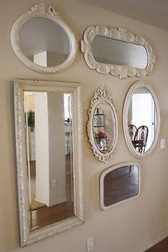 Decorative frame sri for design mounted target full designs white mirror wall ideas accent hanging room oval rectangular lanka length large mirrors wood Mirror Wall Collage, Mirror Gallery Wall, Old Mirrors, My Mirror, Wall Of Mirrors, Painted Mirrors, Large Mirrors, White Mirror, Bedroom Decor