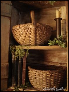 Behind My Red Door: Lots of eye candy… Old Baskets, Vintage Baskets, Wicker Baskets, Rustic Baskets, Woven Baskets, Prim Decor, Country Decor, Primitive Decor, Country Life