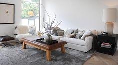 Living room blanc, table basse en bois