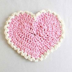 Free Crochet Pattern Pink Heart Placemat. ♥ⓛⓞⓥⓔ♥