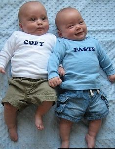 Copy Paste onesies for twins