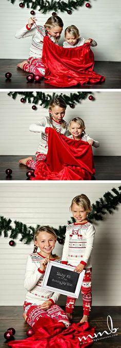 Christmas pregnancy announcement kids in santas sack