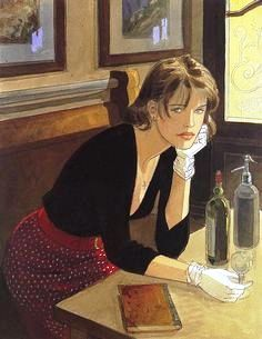Jean-Pierre Gibrat is a French comic artist and scriptwriter. Born April 1954 in Paris, Jean-Pierre Gibrat knows a suburban childhood uneventful. Alphonse Mucha, Art And Illustration, Jean Echenoz, Edouard Hopper, French Magazine, Woman Reading, Cecile, In Vino Veritas, Pablo Picasso