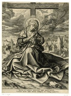 Mater Dolorosa; the Virgin Mary seated at the foot of the Cross with her hands clasped and impaled by a sword, with a cityscape beyond; after Jan Gossaert Engraving Heironymus Weirix