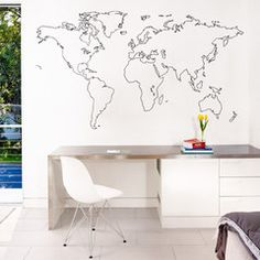 www.vinylimpression.co.uk Outlined world map vinyl wall sticker decal for homes and offices. Stylish wall art graphic for DIY renovation projects. #interiordesign