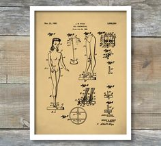 Patent Print, Barbie Doll Patent Poster, Vintage Doll, Barbie Patent, Doll Patent, Mattel, Barbie Art, Toy Patent, P429 by NeueStudioArtPrints on Etsy https://www.etsy.com/listing/487202229/patent-print-barbie-doll-patent-poster