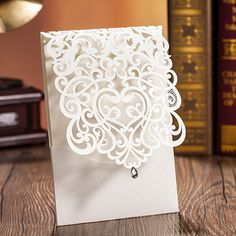 exquisite laser cut white pocket wedding invitations EWWS026 as low as $2.09