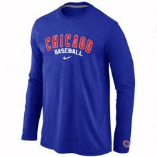 Wholesale Men Chicago Cubs Authentic Team Name Long Sleeve Blue T-Shirt_Chicago Cubs T-Shirt